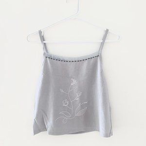 Embroidered Vintage Grey Cami Tank Top Large Crop